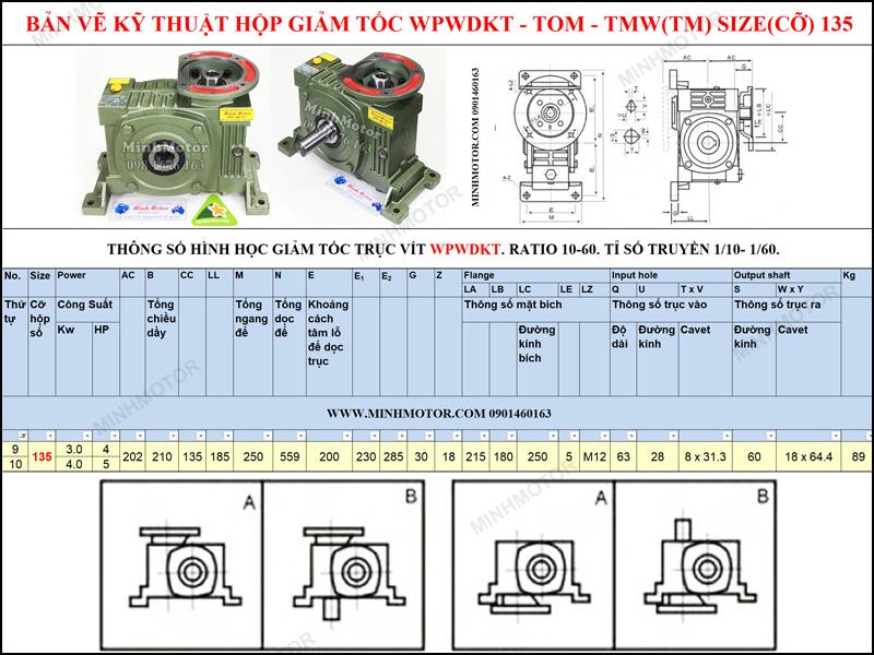 Giảm tốc cốt âm mặt bích WPWDKT size 135