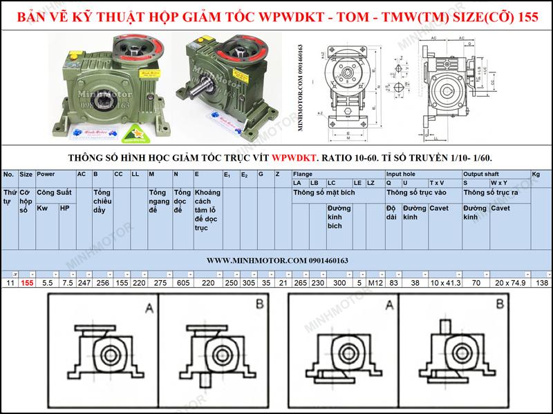 Giảm tốc cốt âm mặt bích WPWDKT size 155