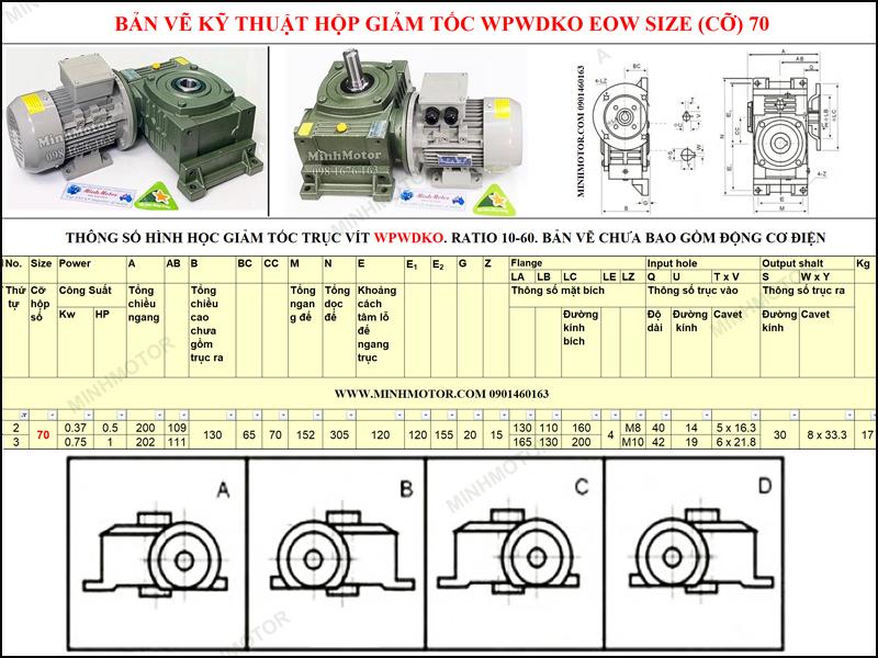 Bản vẽ kỹ thuật Hộp Giảm tốc cốt âm mặt bích WPWDKO EOW size 70