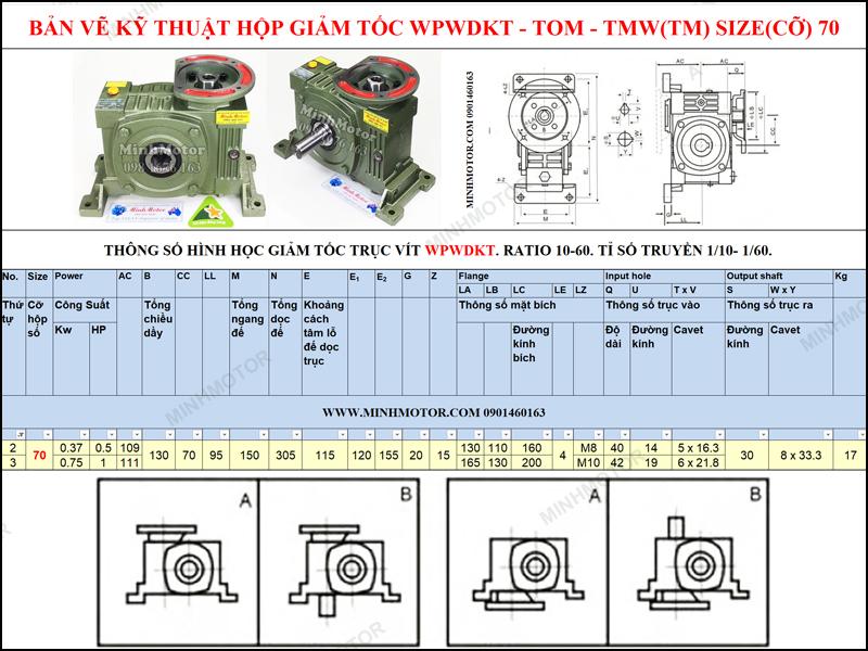Bản vẽ kỹ thuật Hộp Giảm tốc cốt âm mặt bích WPWDKT-TOM-TMW size 70