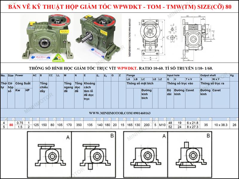 Bản vẽ kỹ thuật Hộp Giảm tốc cốt âm mặt bích WPWDKT-TOM-TMW size 80