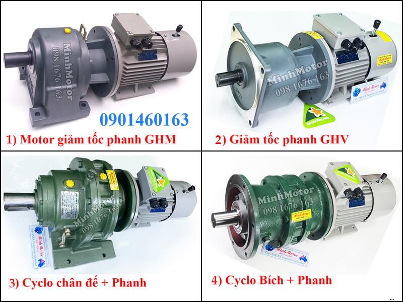 Động cơ Giảm tốc Hitachi có phanh, động cơ giảm tốc Hitachi mặt bích 0.75 kW 1 HP 1 ngựa