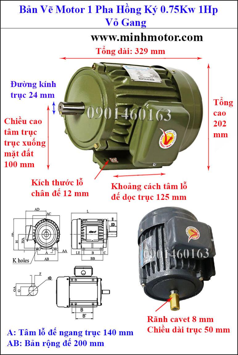 Thông số kỹ thuật Motor Hồng Ký 1HP 0.75kw 1 pha Jet motor