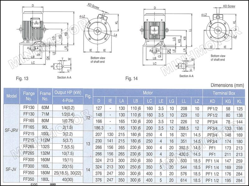 Thông số kỹ thuật motor Mitsubishi 11kw 15HP 15 ngựa mặt bích
