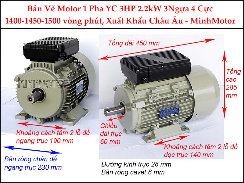 Bản vẽ Động Cơ Điện 1 Pha 2.2Kw 3HP 4 Cực chân đế