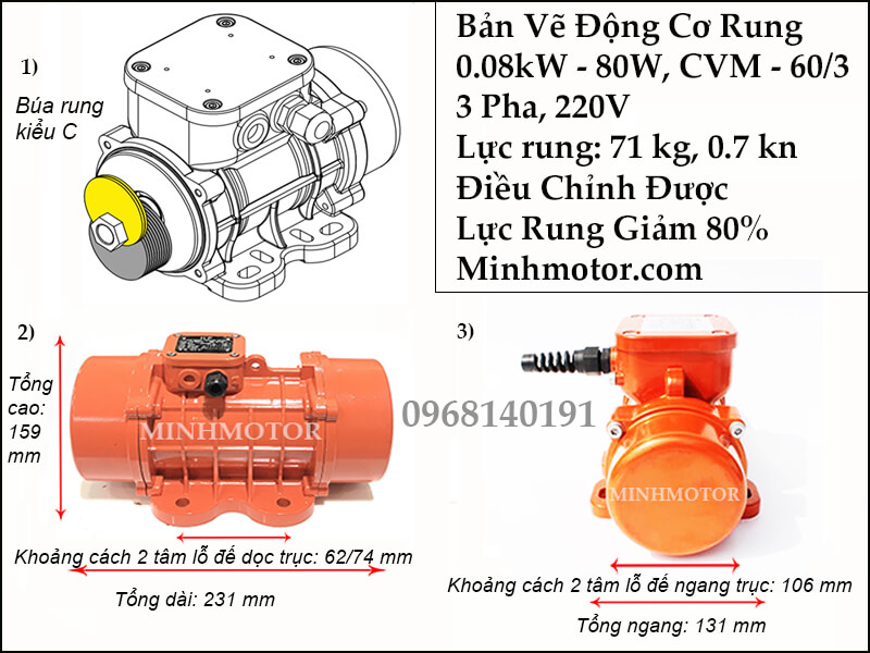 Đầm rung 0.08 kW - 80 w 3 pha 220v, CVM-60/3