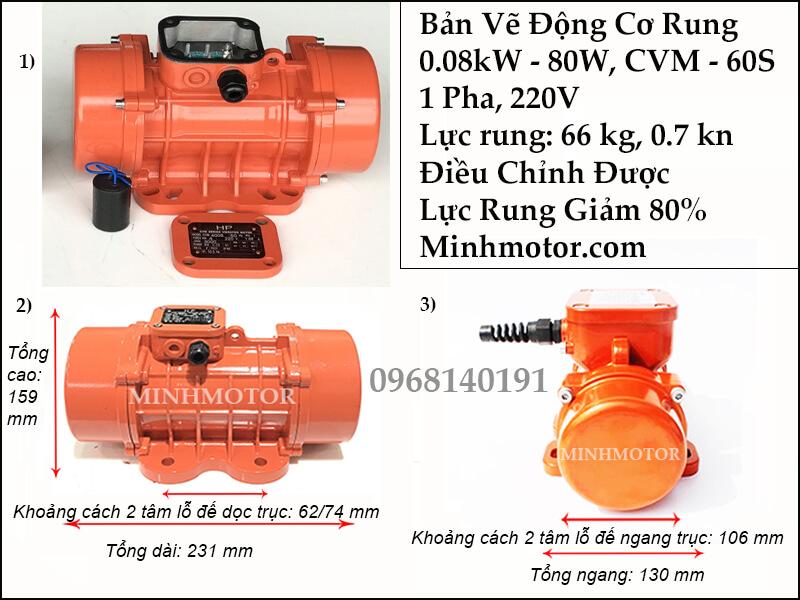 Motor rung 80w 1 pha 220v, CVM-60S