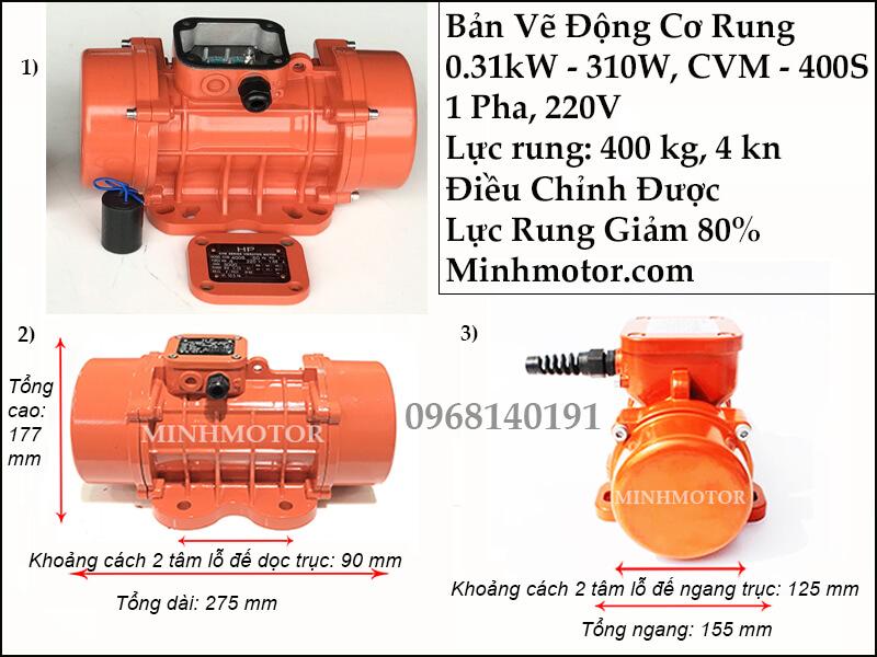 Động cơ rung 310w - 0.31 kw 1 pha 220v, CVM-400S