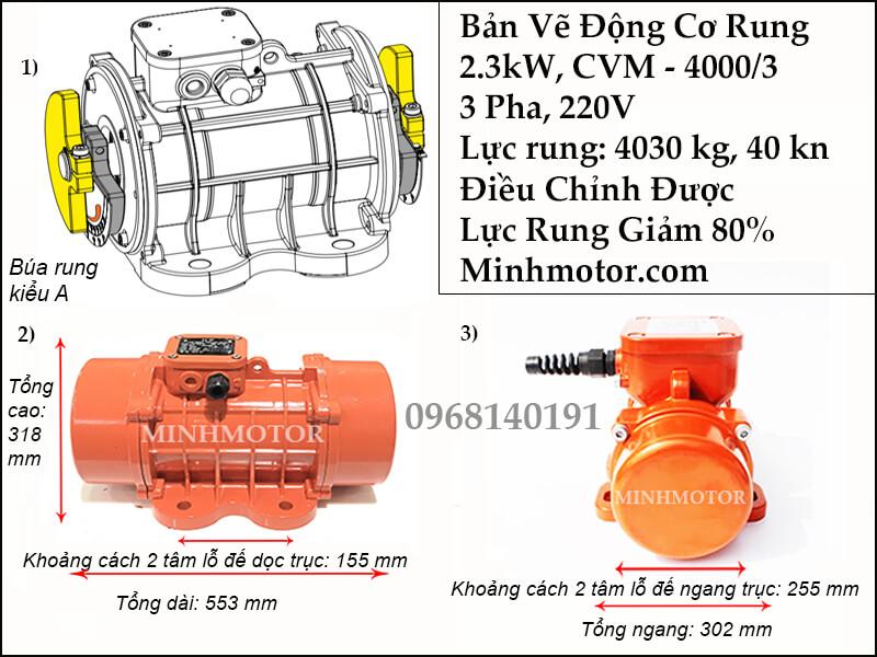 Động cơ rung 2.3 kW 3 pha 220v, CVM-4000/3
