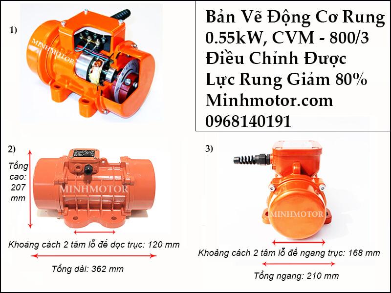 Bản vẽ kích thước motor rung 0.55kw, CVM - 800/3
