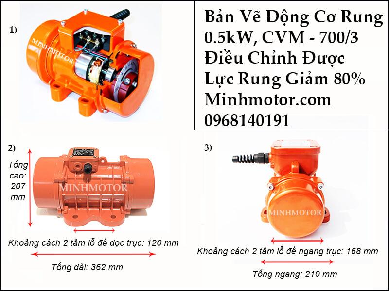 Bản vẽ kích thước motor rung 0.5kw, CVM - 700/3