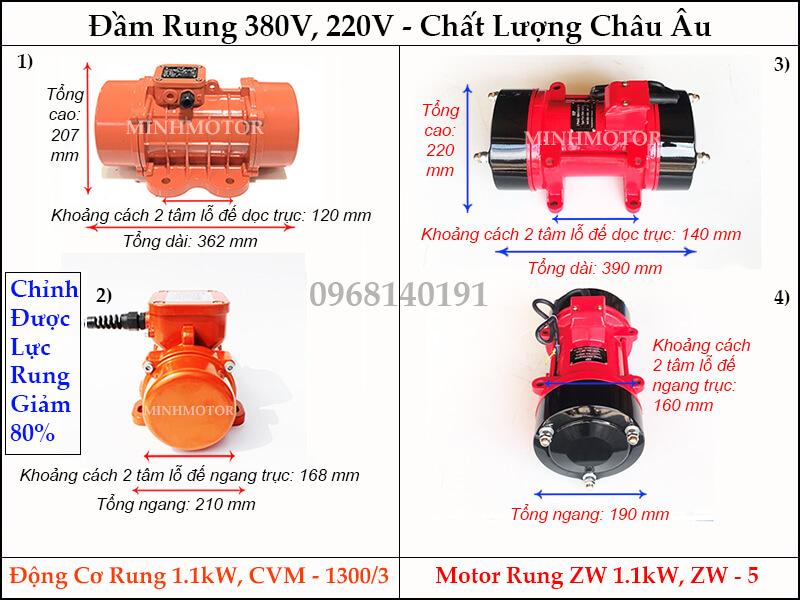 Thông số kỹ thuật motor rung ZW 1.1kw, ZW - 5 hay đầm rung 1.1kw, CVM - 1300/3