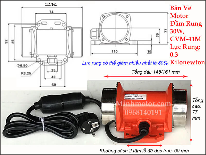 Motor rung 0.03kw 1 pha 220v, CVM-41M