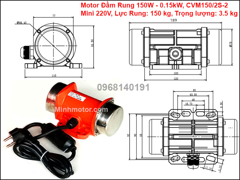 Động cơ rung 150w - 0.15kw mini 1 pha 220v, CVM-150/2S-2