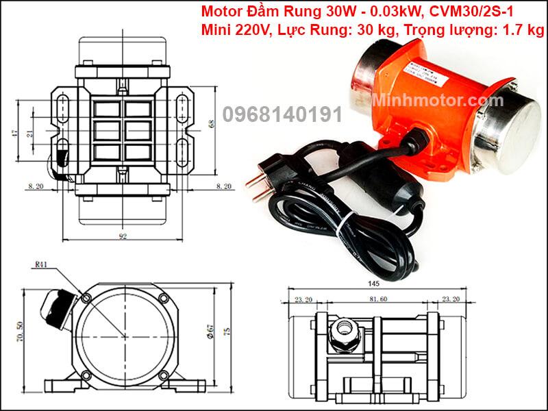 Động cơ rung 30w mini 220v, CVM30/2S-1