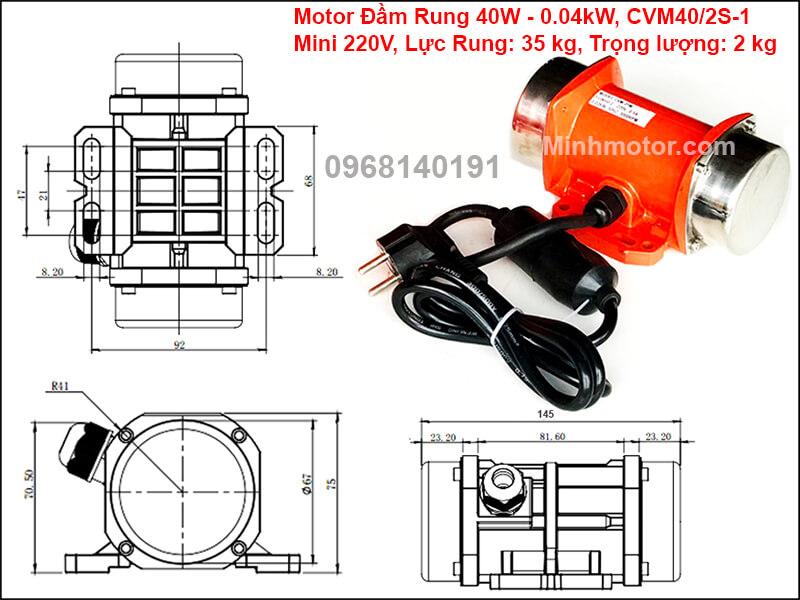 Động cơ rung 40w mini 220v, CVM40/2S-1