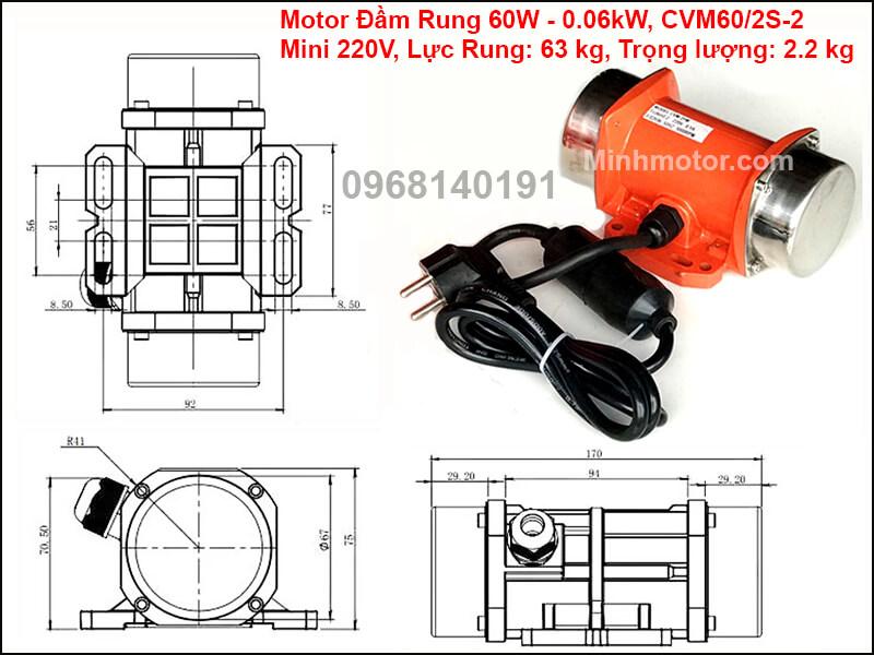 Motor rung 60w - 0.06 kw mini 1 pha 220v, CVM60/2S-2