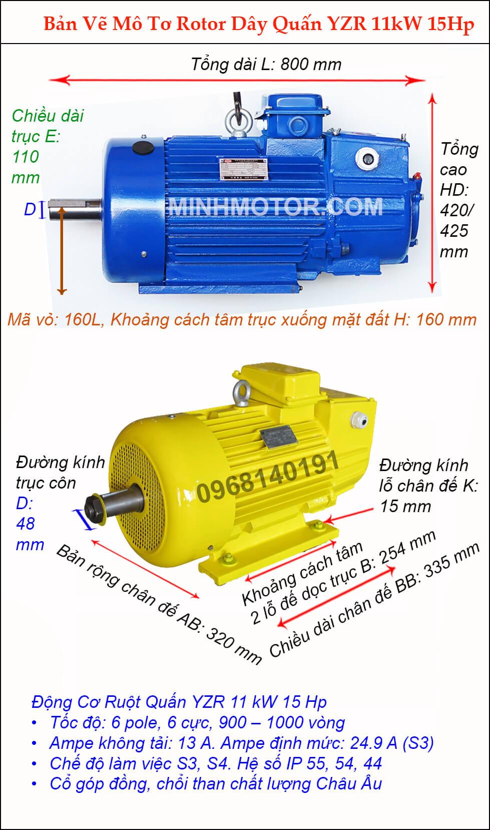 Thông số bản vẽ motor cầu trục 11kw 15hp