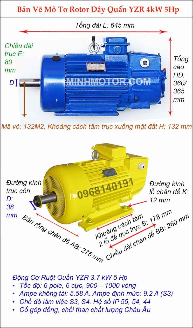 Motor cầu trục 4kw 5hp 6 pole, 6 cực 900-1000 vòng phút