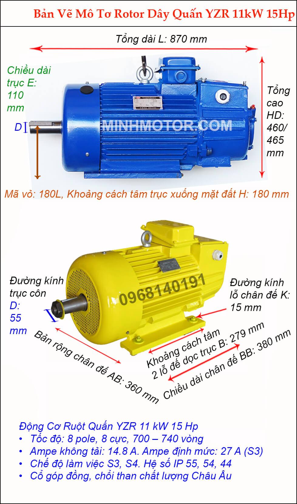 Motor ruột quấn 11 kw 15 HP 8 cực điện 700 vòng phút