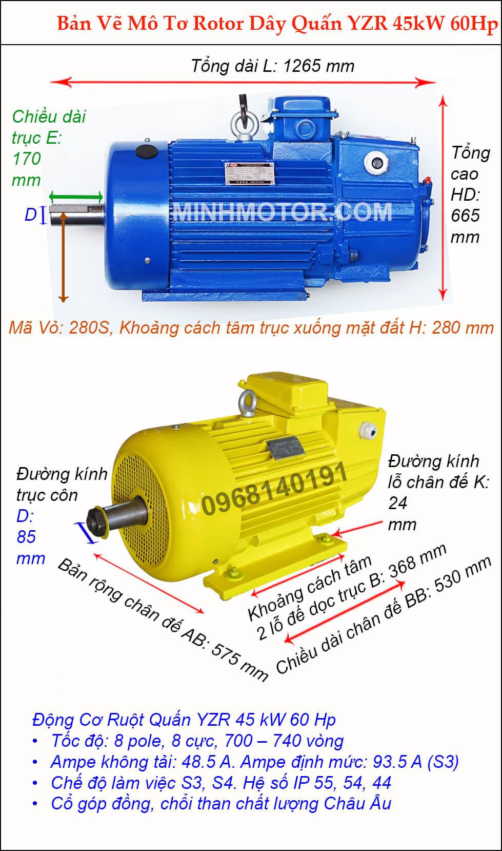 Motor ruột quấn 45 kw 60 HP 8 cực điện 700 vòng phút