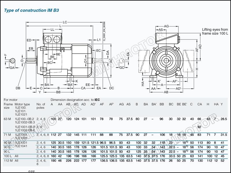 Thông số bản vẽ cataloge Motor Siemens 0.75kw 1HP 1 ngựa chân đế