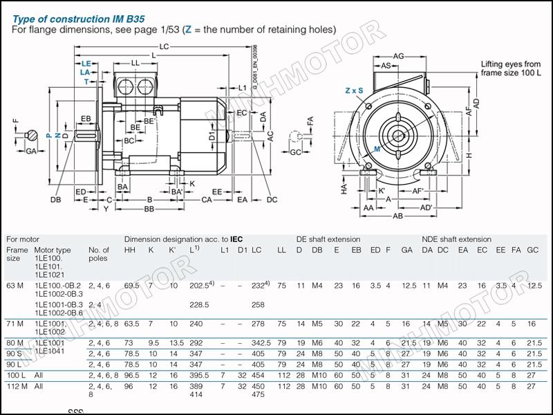 Bản vẽ kỹ thuật động cơ điện Siemens 0.75kw 1HP 1 ngựa mặt bích