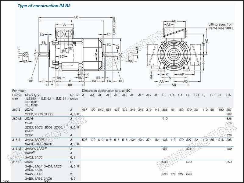 Thông số bản vẽ cataloge Motor Siemens 110kw 150HP 150 ngựa chân đế