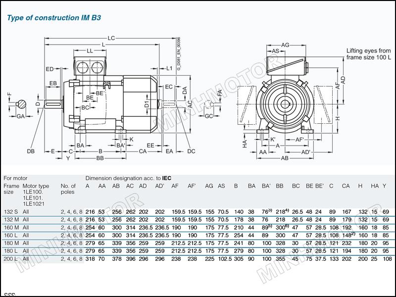 Thông số bản vẽ cataloge Motor Siemens 11kw 15HP 15 ngựa chân đế
