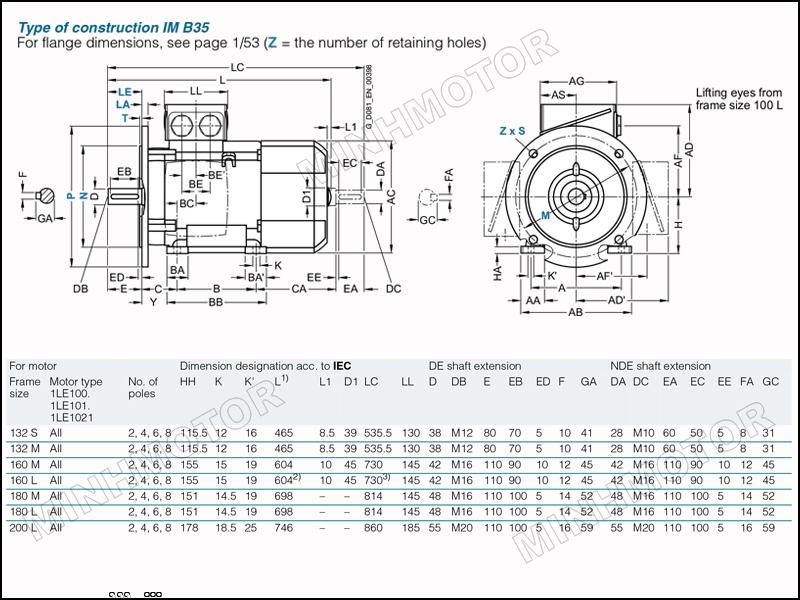 Bản vẽ kỹ thuật động cơ điện Siemens 15kw 20HP 20 ngựa mặt bích