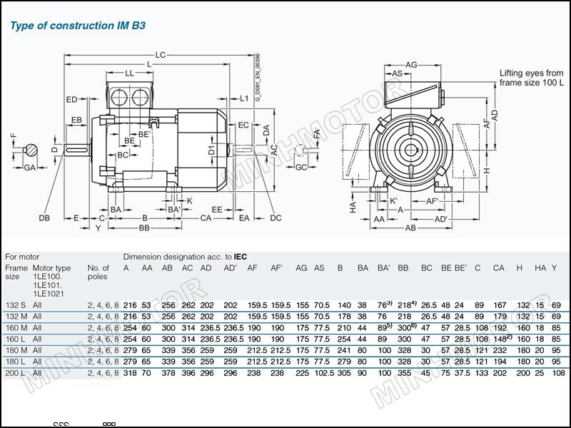 Thông số bản vẽ cataloge Motor Siemens 30kw 40HP 40 ngựa chân đế