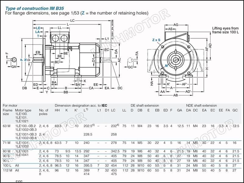 Bản vẽ kỹ thuật động cơ điện Siemens 3kw 4HP 4 ngựa mặt bích