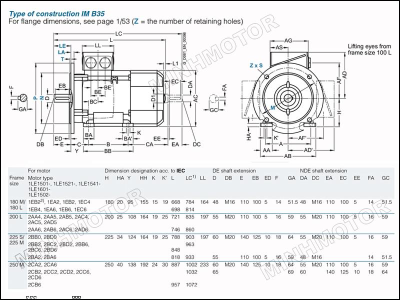 Bản vẽ kỹ thuật động cơ điện Siemens 45kw 60HP 60 ngựa mặt bích