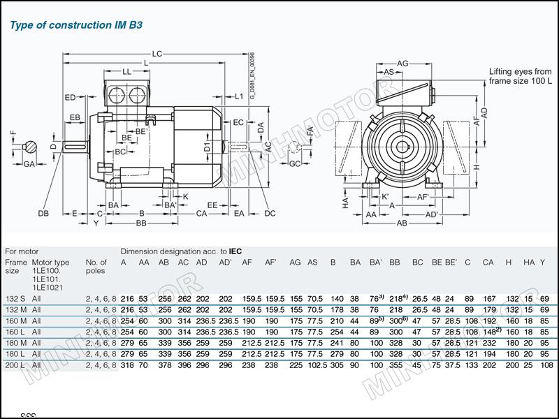 Thông số bản vẽ cataloge Motor Siemens 5.5kw 7.5HP 7.5 ngựa chân đế