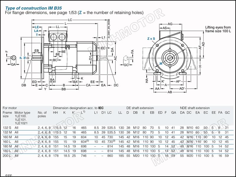 Bản vẽ kỹ thuật động cơ điện Siemens 7.5kw 10HP 10 ngựa mặt bích