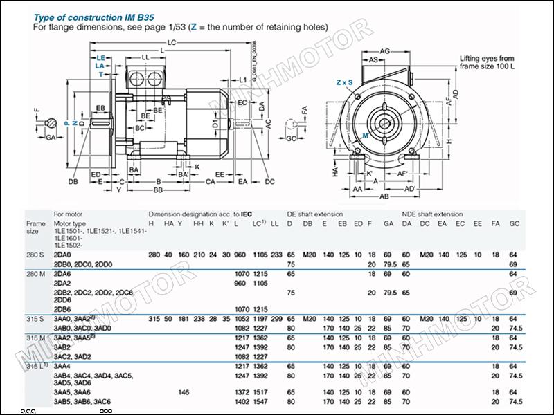 Bản vẽ kỹ thuật động cơ điện Siemens 75kw 100HP 100 ngựa mặt bích
