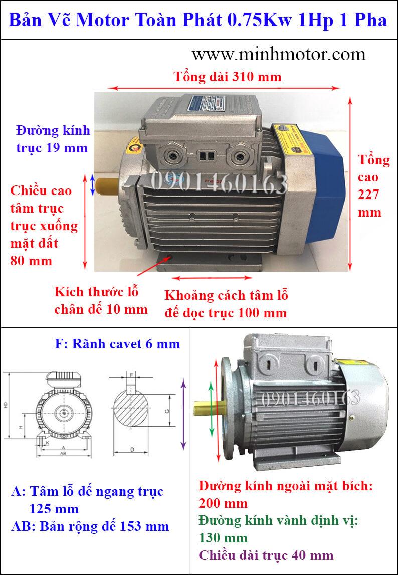 Thông số hình học Motor toàn phát 0.75kw 1 ngựa 1 pha