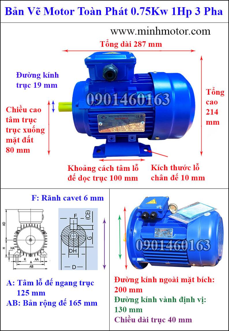 Bản vẽ kỹ thuật Motor toàn phát 0.75kw 1HP 3 pha