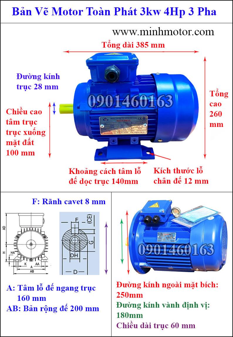 Thông số kỹ thuật motor Toàn Phát 3kw 4HP 3 pha