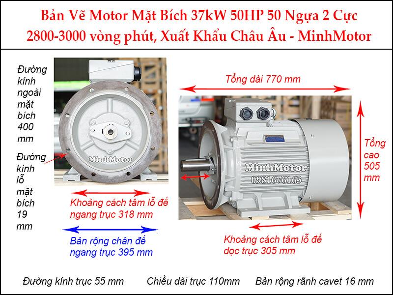 Thông số kỹ thuật Motor điện 3 Pha 37Kw 50HP 2 Cực Điện mặt bích