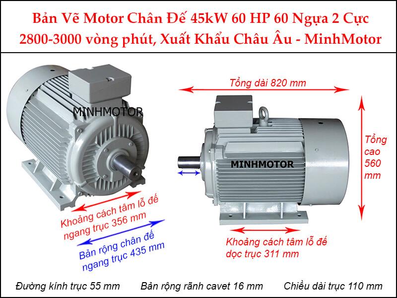 Thông số kĩ thuật bản vẽ động cơ điện 60Hp 45Kw 2 Cực điện